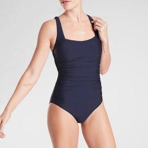 NWT Athleta Shirred Square Neck One Piece Swimsuit